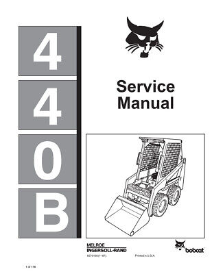 bobcat 440b skid steer loader printed 1987 edition repair. Black Bedroom Furniture Sets. Home Design Ideas
