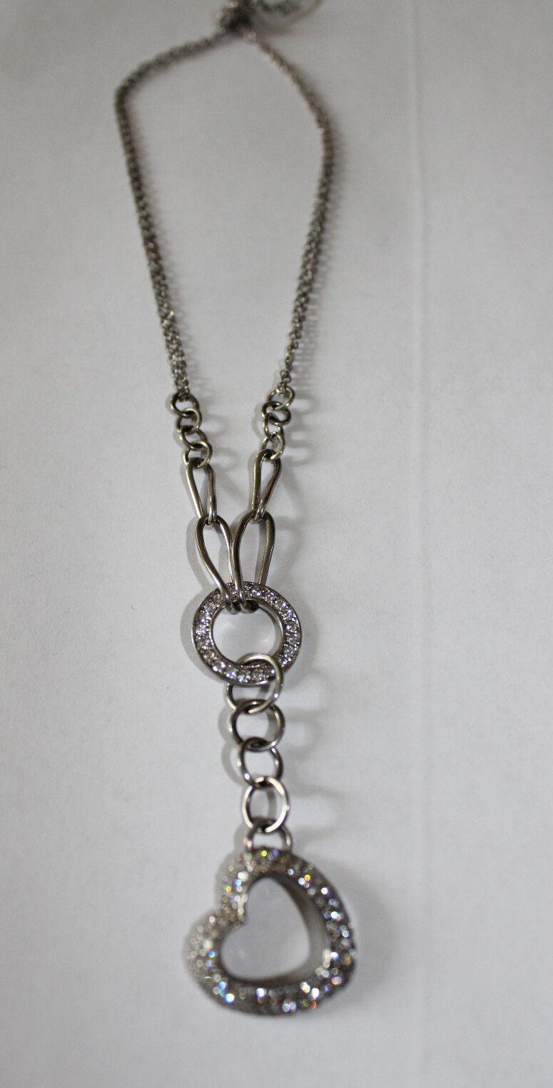 Halskette Collier 925er silver mit Glasteinen und Herz