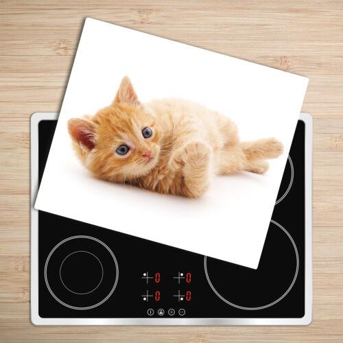 Glas-Herdabdeckplatte Ceranfeldabdeckung Spritzschutz 60x52 Rote Katze