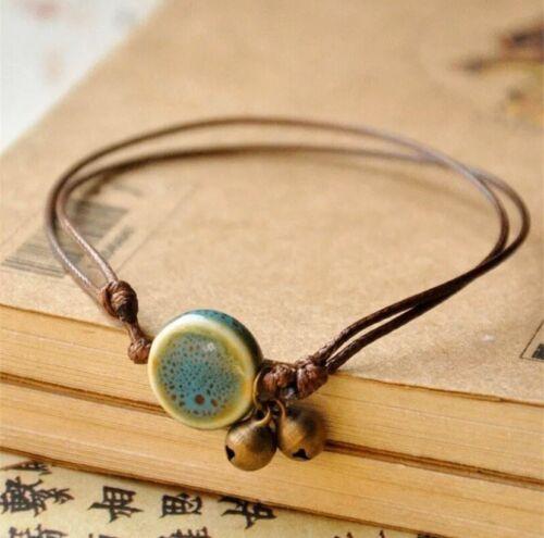 Armband Keramik Geschenk Schnur Bracelet Boho Hippie Damen Vintage Afrika