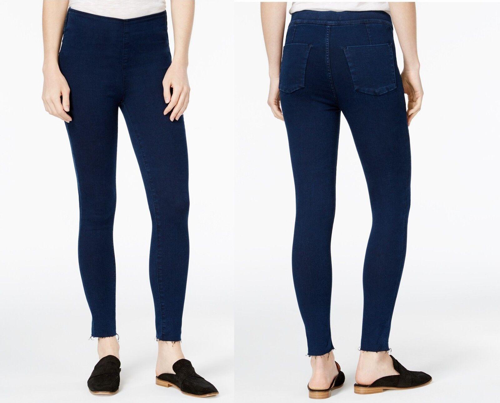 FREE PEOPLE Womens Easy Goes Jeggings Skinny Jeans High Waist Legging Dark bluee
