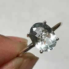 Natural 1.25ct Aquamarine 925 Sterling Silver Outstanding Sparkling Ring sz 7.25