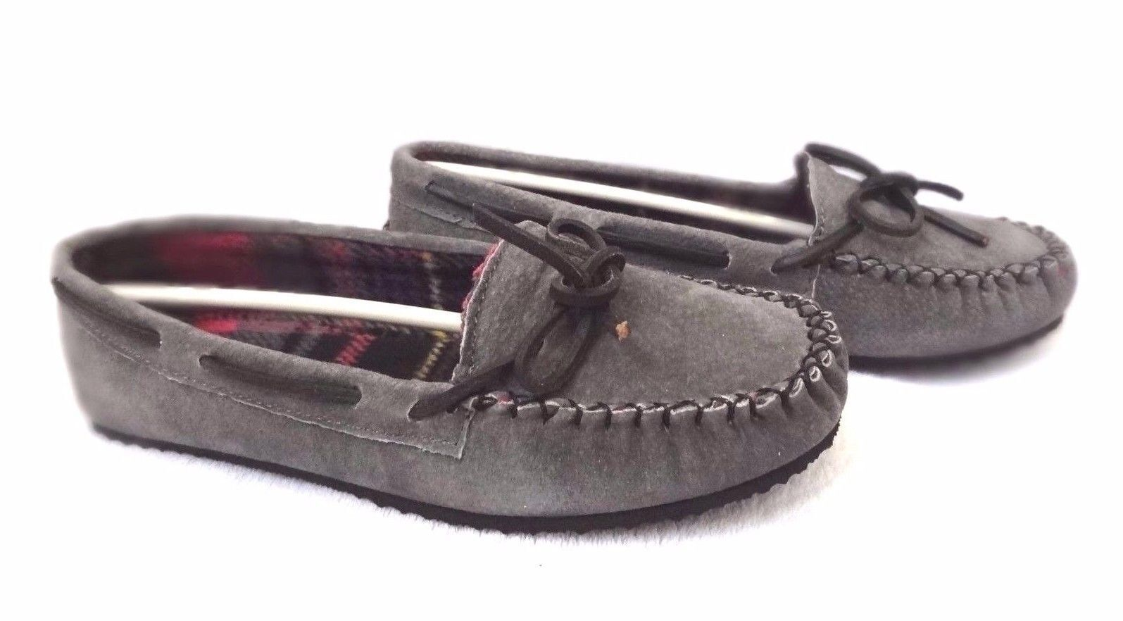 Peace Mocs Women's Suede Ohio Loafers Moccasins Shoes  Grey  Size 7