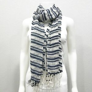 Juicy-Couture-Womens-Striped-Scarf-100-Cotton-White-Navy-Rectangle