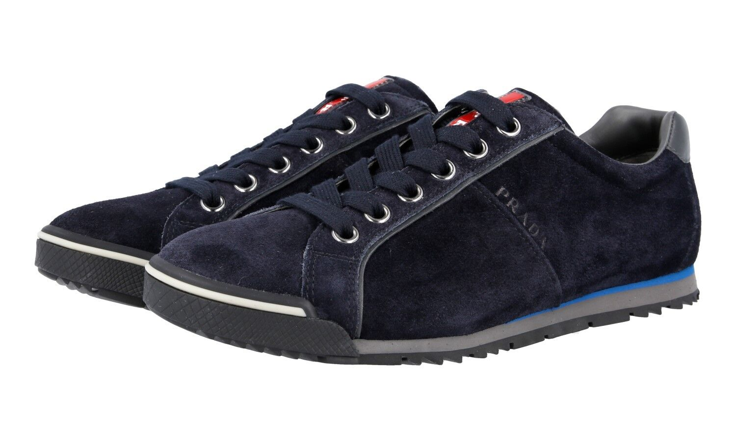 AUTH LUXURY PRADA SNEAKERS SHOES 4E2719 blueE SUEDE NEW US 7 EU 40 40,5
