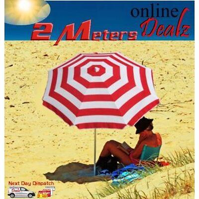 2M SUNSHINE BEACH UMBRELLA 2M DIAMETER CAMPING SUN SHADE + CARRY BAG