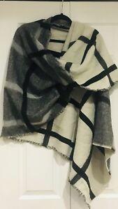 "Zara Rare Tartan Plaid Oversized Blanket Scarf Black/White/Gr<Wbr>Ay  80""X 30"" by Ebay Seller"