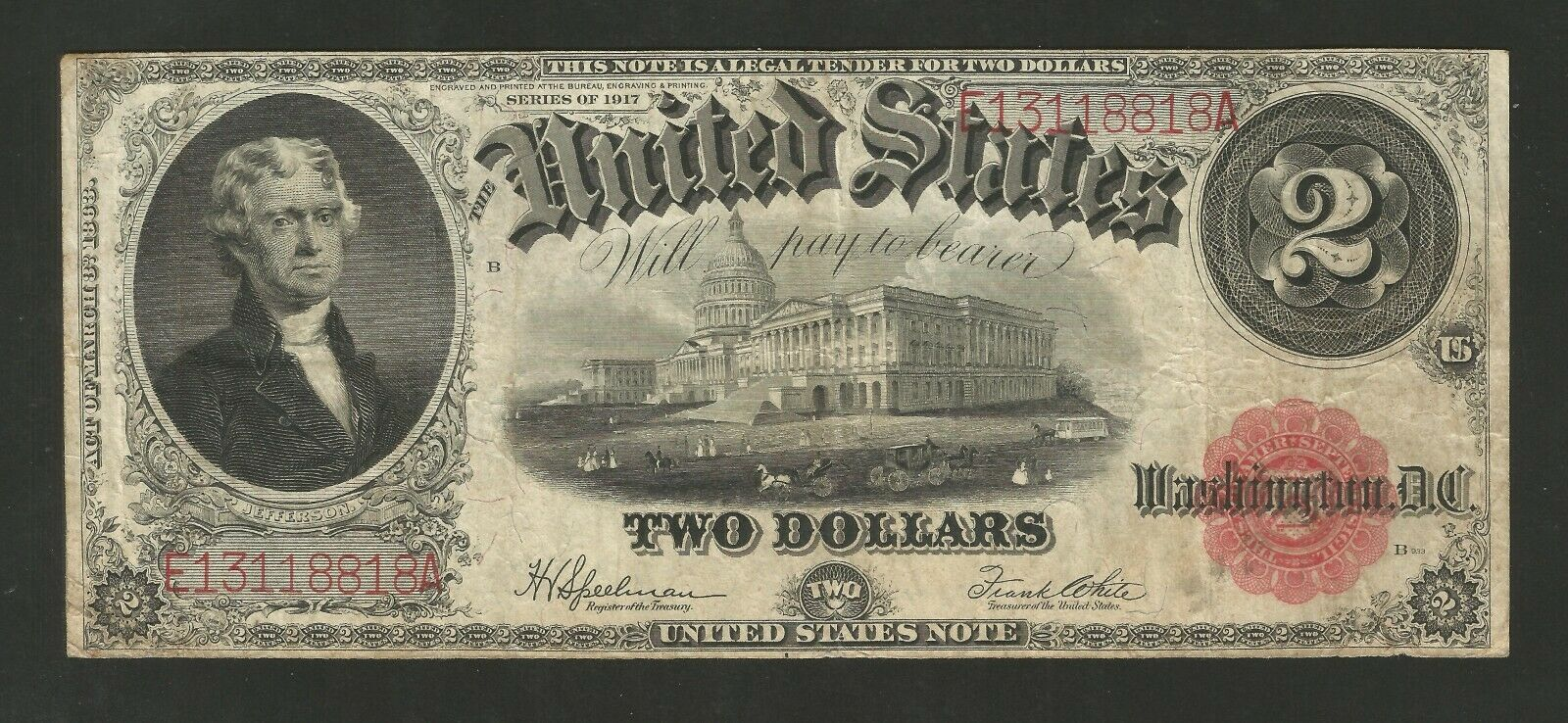 FR. 60 Two Dollars ($2) Series of 1917 United States Note - Legal Tender 1