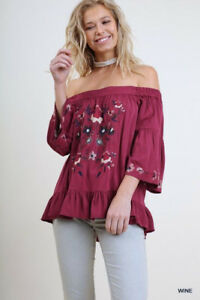 4ed7d5f10ef PLUS XL 1XL 2XL UMGEE WINE embroidery Off On Shoulder Top Shirt ...