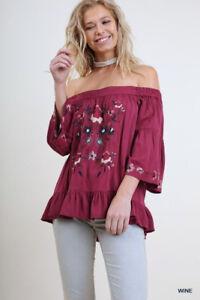 641b8a637fab59 PLUS XL 1XL 2XL UMGEE WINE embroidery Off On Shoulder Top Shirt ...