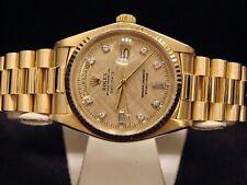 Factory Diamonds Rolex Day-date President 18038 18k Yellow Gold Black Watch C8