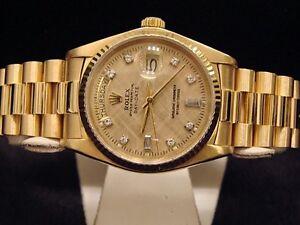 Mens-Rolex-Solid-18KT-18k-Yellow-Gold-Day-Date-President-Linen-Diamond-18038