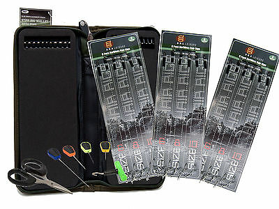 18 X Carp Fishing Hair Rigs Sizes 6 8 & 10 With Stiff Rig Wallet + Baiting Tools
