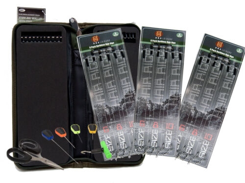 Baiting Tools 18 X Carp Fishing Hair Rigs Sizes 6 8 /& 10 With Stiff Rig Wallet