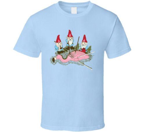 Gnomes Kill Bird Flamingo Funny Cartoon T Shirt