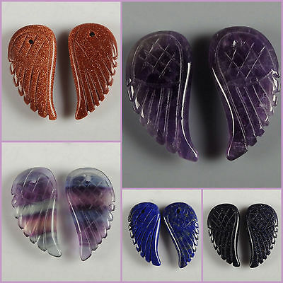 "30mm Hand Carved rock crystal gemstone angel wing pendant bead 1.2"""