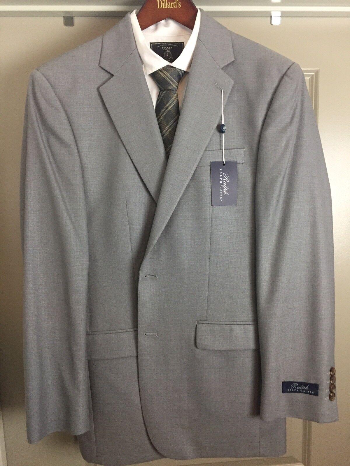 NWT RALPH BY RALPH LAUREN Light grau 40L Reg Fit SPORT COAT Silk Wool MSRP295