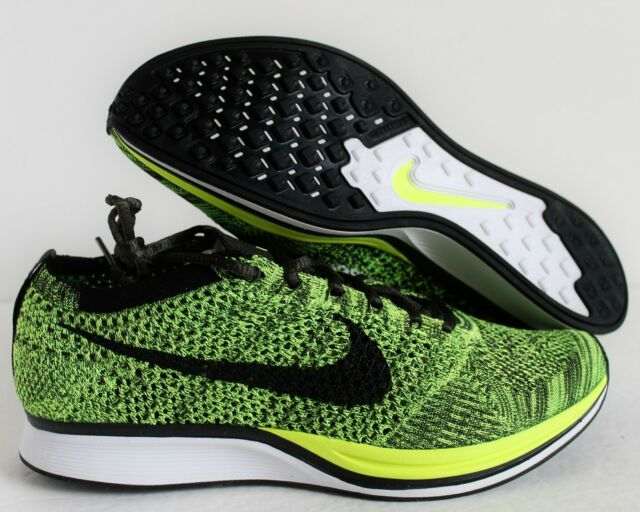 pretty nice dbd70 a6c5a Nike Flyknit Racer Mens 526628-731 Volt Black Sequoia Running Shoes Size 8