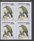Australia 1980 Rainbow Bird 28c Pair Blocks of 4  AUS669BK