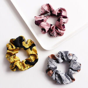 Geometric-Print-Scrunchie-Women-Elastic-Hair-Band-Tie-Girl-Hair-Rope-Accessories
