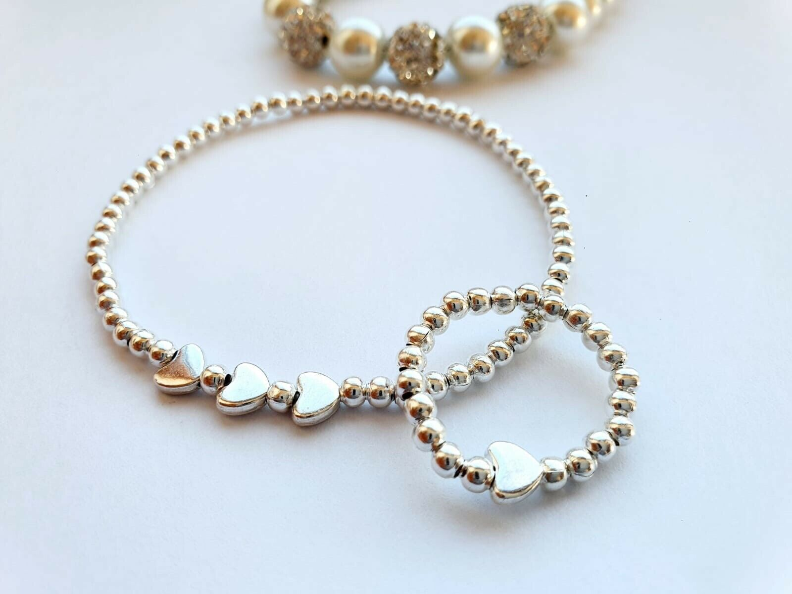 ❤️Silver ball stretch bracelet Ring Anklet luck Cute three heart stacker gift ❤️