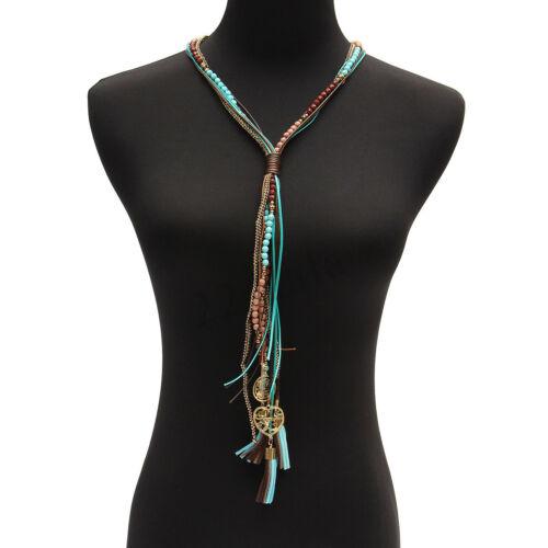 Femmes Boho Vintage Ethnique Style Long Tassel Cuir Corde Collier Collier Cadeau