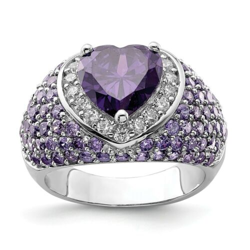 Sterling Silver Heart Shaped Purple /& Clear CZ Ring 7.74 gr Size 6 to 8