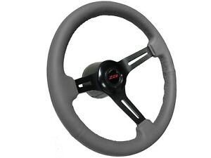 1969-1989-Chevy-Camaro-Red-Z28-S6-Grey-Leather-Steering-Wheel-Covert-Kit