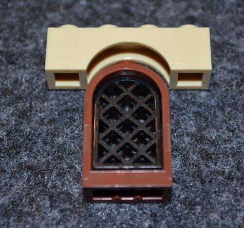 1 ~ Brown Castle Window w// Black Lattice and Tan Arch Bricks  ~ Lego  ~ NEW