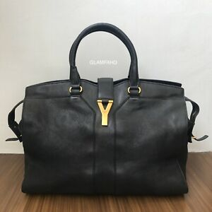 Pre-Owned-Authentic-YSL-Large-Cabas-Black-Leather-Handbag