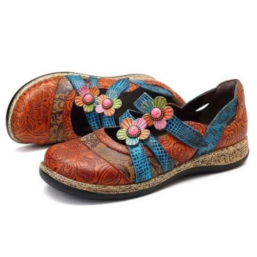 Flower Pattern Handmade Women/'s Flat Bottom Shoes Casual Sandals J