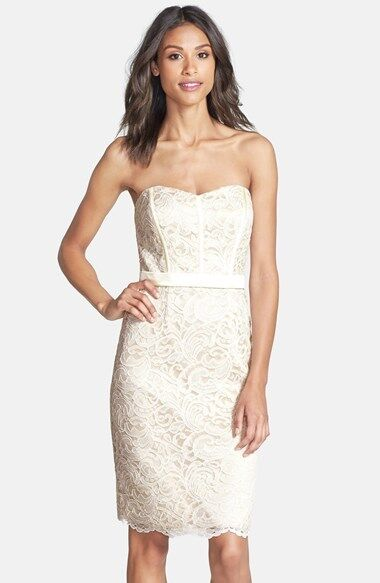 250NewSz.12 Dessy Collection Off-Shoulder Lace Overlay Matte Satin Sheath Dress