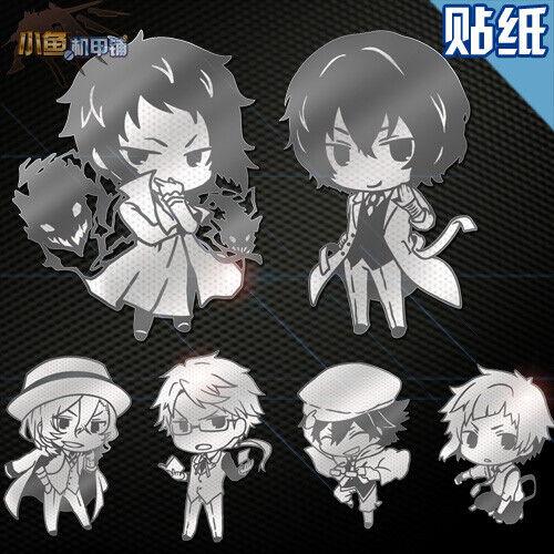 6pcs//set Anime Bungou Stray Dogs Nakajima Atsushi Dazai Phone Metal Sticker