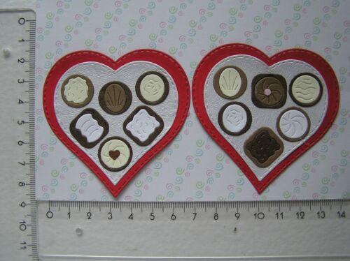 Bonbons Konfekt 2 Herzen mit Pralinen Kartenschmuck Scrapbooking Sticker n98