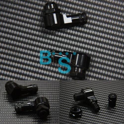 2X Black Racing Motorcycle CNC Aluminum Wheels Valve Stems Caps 90 Degree BSE