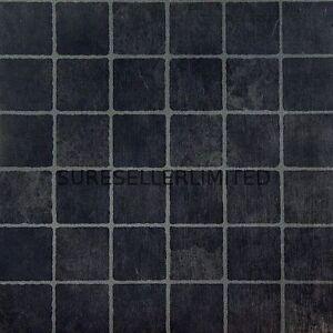 50 x black squares self adhesive stick on vinyl flooring floor tiles kitchen ebay. Black Bedroom Furniture Sets. Home Design Ideas
