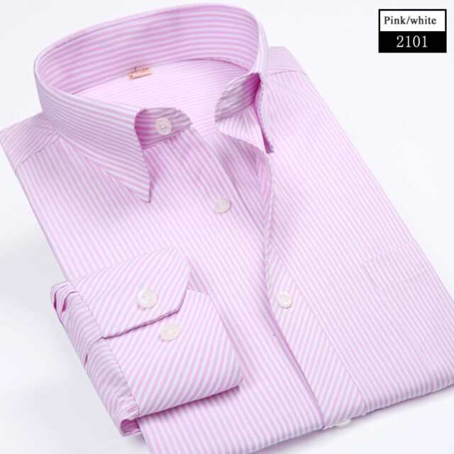 New Mens Fashion Button Striped Luxury Casual Slim Fit Stylish Dress Shirts 6339