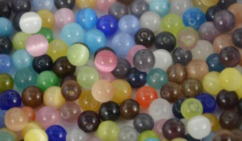 4mm Mezclado Color Ojo de Gatos redonda granos Joyería hágalo usted mismo Making Crafts Abalorios 50 un