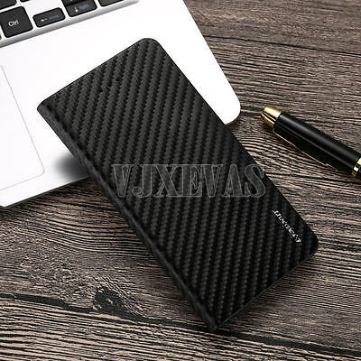 Luxury Magnetic Flip Carbon Leather Case Wallet Phone Cover for Apple iPhone