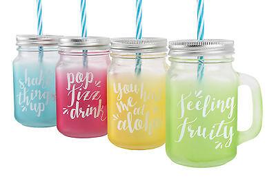 Set of 4 Mason Style Jam Jars Multi Colour Drinking Glass with Handle & Straw