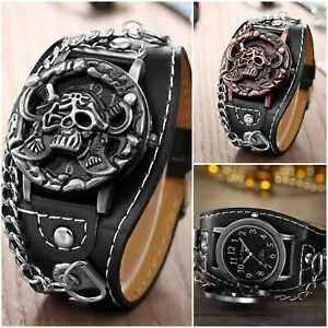 Leather-Black-Skull-Biker-Rock-Goth-Watch-Fashion-Women-Men-Wrist-Watch-Pirate