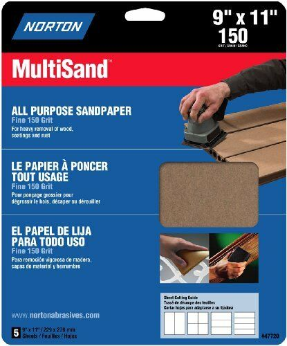 Norton 47720 Multi-Sand Sandpaper 150 Grit 5-Pack 9-Inch x 11-Inch