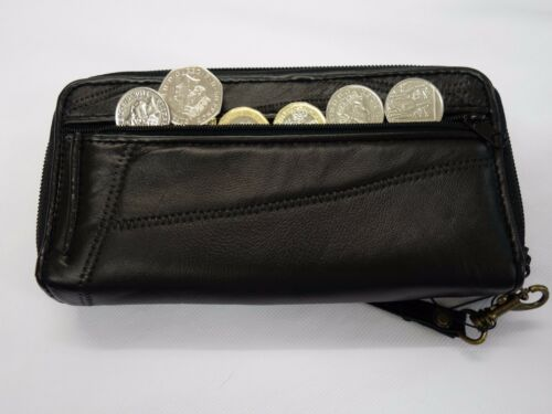 Ladies Leather Purse Wallet with WristStrap BLACK Extra Large