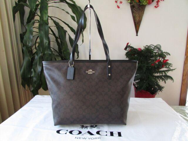 4ea86786ebda Coach Signature Large City Zip Tote Bag Black Brown F14929 Imaa8 for ...