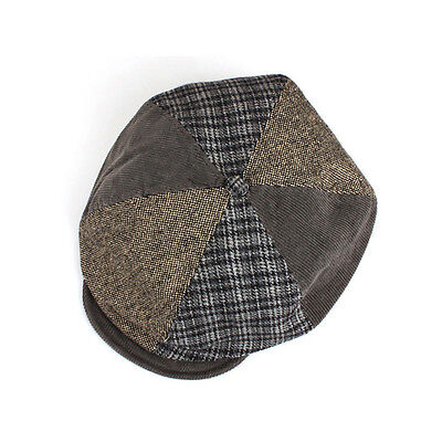 Unisex Mens Check Corduroy Tweed Baker Boy Flat Cap Newsboy Gatsby Hats Khaki