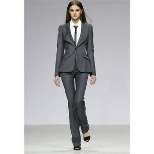b3344db60c90 Image is loading Gray-Ladies-Office-Uniform-Womens-Business-Suits-Formal-