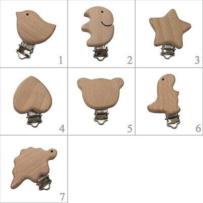 Cartoon Animals DIY Pacifier Chain  Dummy Holder Beech Wood  Pacifier Clip