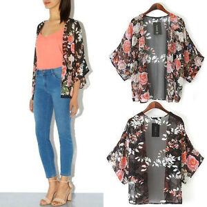Vintage Floral Loose Shawl Kimono Boho Chiffon Cardigan Coat ...