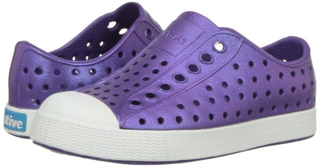 White NIB Native Kids Jefferson Iridescent Girls Slip On Sneakers Shoes Purple