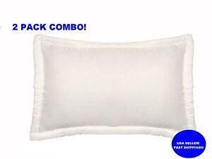 2x Queen Micro Gel Memory Foam Cream Bed Pillows Down